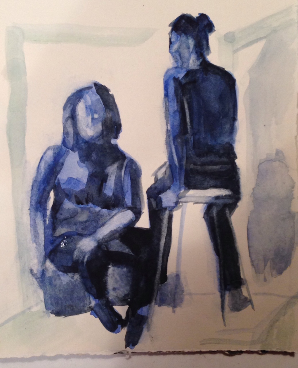 Two Females in Blue (a study)